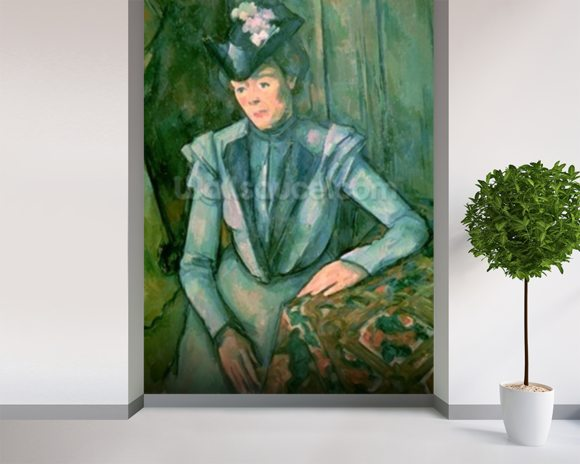 Woman in Blue (Madame Cezanne) 1900-02 (oil on canvas) wallpaper mural room setting
