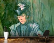 Woman in Blue (Madame Cezanne) 1900-02 (oil on canvas) wallpaper mural kitchen preview