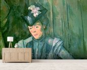 Woman in Blue (Madame Cezanne) 1900-02 (oil on canvas) wallpaper mural living room preview