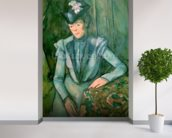Woman in Blue (Madame Cezanne) 1900-02 (oil on canvas) wallpaper mural in-room view