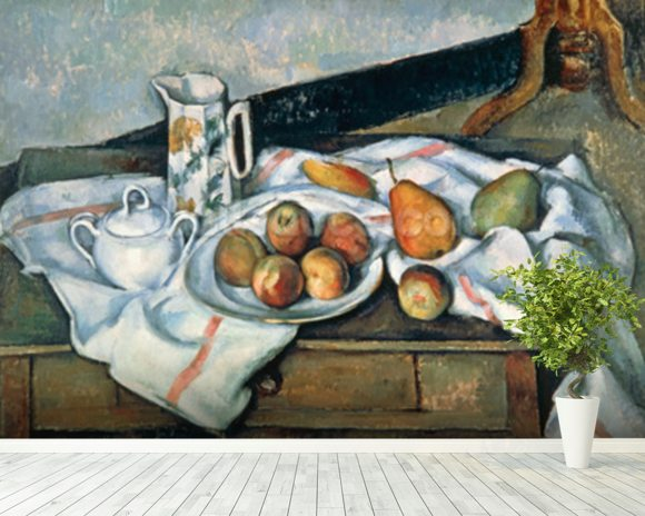 Still Life of Peaches and Pears, 1888-90 (oil on canvas) mural wallpaper room setting