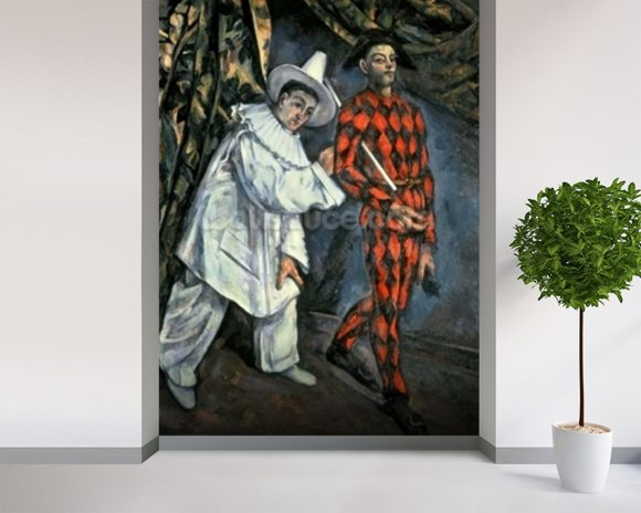 Pierrot and Harlequin (Mardi Gras), 1888 (oil on canvas) wall mural room setting