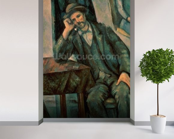 Man Smoking a Pipe, 1890-92 (oil on canvas) mural wallpaper room setting