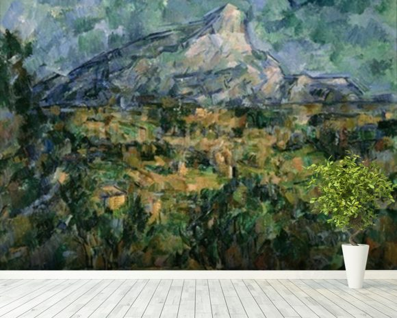 Mont Sainte-Victoire, 1904-05 (oil on canvas) wallpaper mural room setting
