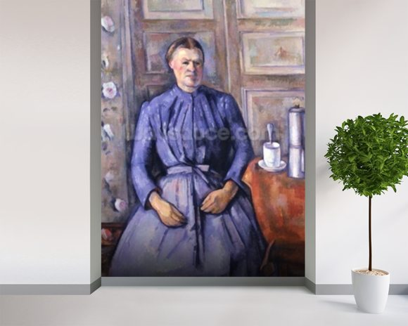 Woman with a Coffee Pot, c.1890-95 (oil on canvas) wallpaper mural room setting
