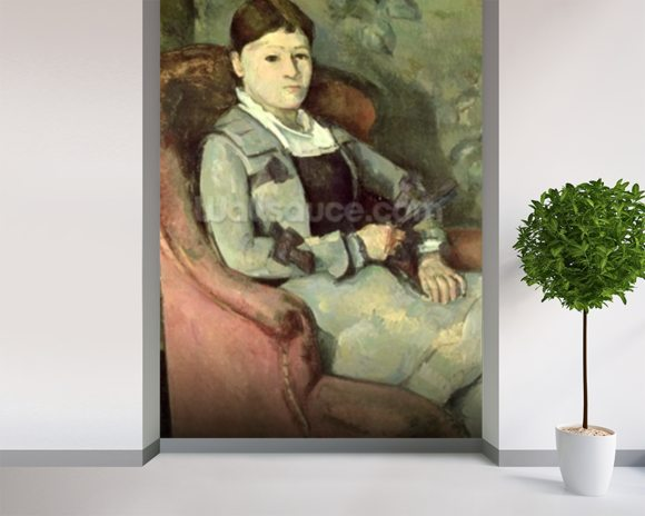 The Artists Wife in an Armchair, c.1867 (oil on canvas) mural wallpaper room setting