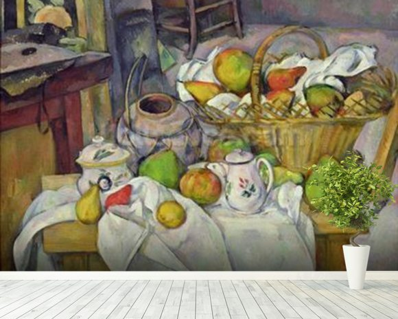 Still life with basket, 1888-90 (oil on canvas) mural wallpaper room setting