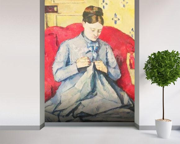 Madame Cezanne sewing mural wallpaper room setting