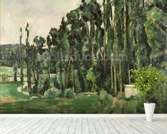 The Poplars, c.1879-82 (oil on canvas) wallpaper mural room setting