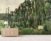 The Poplars, c.1879-82 (oil on canvas) wallpaper mural living room preview