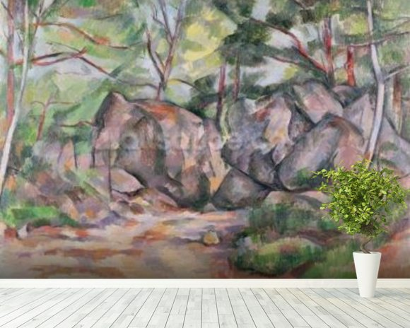 Woodland with Boulders, 1893 (oil on canvas) mural wallpaper room setting