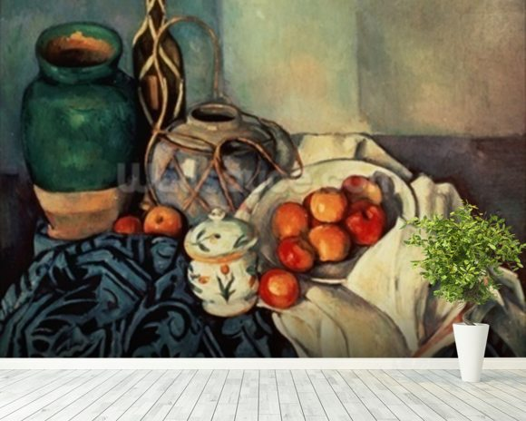 Still Life with Apples, 1893-94 (oil on canvas) wall mural room setting