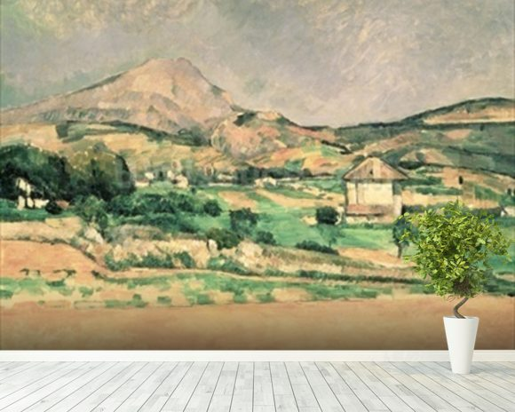 Montagne Sainte-Victoire, c.1882-85 (oil on canvas) mural wallpaper room setting