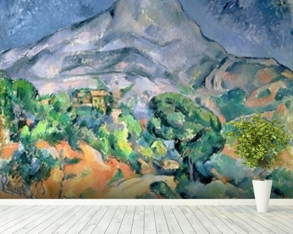 Mont Sainte-Victoire, 1900 (oil on canvas) wall mural room setting