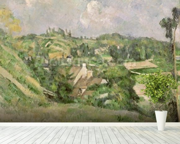 Auvers-sur-Oise, seen from the Val Harme, 1879-82 (oil on canvas) mural wallpaper room setting