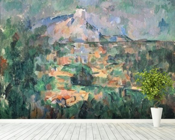 Montagne Sainte-Victoire from Lauves, 1904-06 (oil on canvas) wall mural room setting