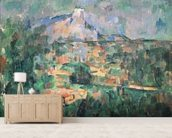 Montagne Sainte-Victoire from Lauves, 1904-06 (oil on canvas) wall mural living room preview