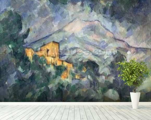 Montagne Sainte-Victoire and the Black Chateau, 1904-06 (oil on canvas) wallpaper mural room setting