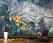 Montagne Sainte-Victoire and the Black Chateau, 1904-06 (oil on canvas) wallpaper mural kitchen preview