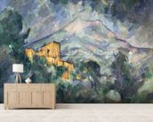 Montagne Sainte-Victoire and the Black Chateau, 1904-06 (oil on canvas) wallpaper mural living room preview
