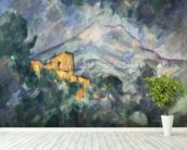 Montagne Sainte-Victoire and the Black Chateau, 1904-06 (oil on canvas) wallpaper mural in-room view