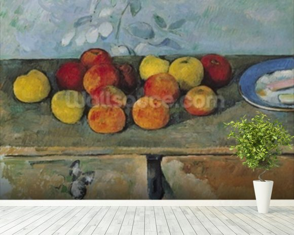 Still life of apples and biscuits, 1880-82 (oil on canvas) mural wallpaper room setting