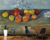 Still life of apples and biscuits, 1880-82 (oil on canvas) mural wallpaper kitchen preview