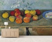 Still life of apples and biscuits, 1880-82 (oil on canvas) mural wallpaper living room preview