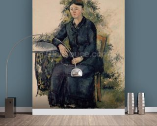 Madame Cezanne in the Garden, 1880-82 (oil on canvas) mural wallpaper