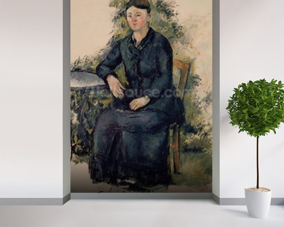 Madame Cezanne in the Garden, 1880-82 (oil on canvas) mural wallpaper room setting
