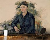 Madame Cezanne in the Garden, 1880-82 (oil on canvas) mural wallpaper kitchen preview