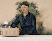 Madame Cezanne in the Garden, 1880-82 (oil on canvas) mural wallpaper living room preview