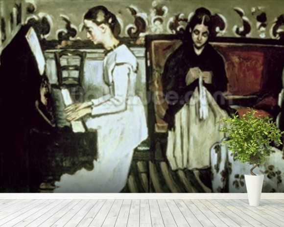 Girl at the Piano (Overture to Tannhauser), 1868-69 (oil on canvas) mural wallpaper room setting