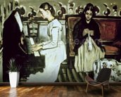 Girl at the Piano (Overture to Tannhauser), 1868-69 (oil on canvas) mural wallpaper kitchen preview