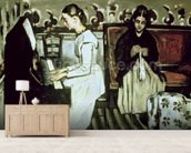 Girl at the Piano (Overture to Tannhauser), 1868-69 (oil on canvas) mural wallpaper living room preview