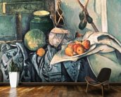 Still Life with Pitcher and Aubergines (oil on canvas) wall mural kitchen preview