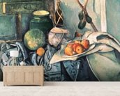 Still Life with Pitcher and Aubergines (oil on canvas) wall mural living room preview