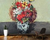 Flowers in a Delft vase, c.1873-75 (oil on canvas) wallpaper mural kitchen preview