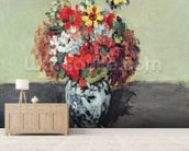 Flowers in a Delft vase, c.1873-75 (oil on canvas) wallpaper mural living room preview