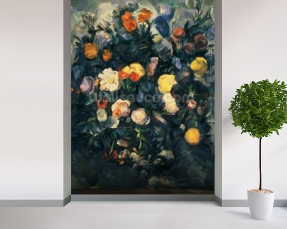 Vase of Flowers, 19th (oil on canvas) mural wallpaper room setting