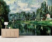 The Banks of the Marne at Creteil, c.1888 (oil on canvas) wallpaper mural living room preview