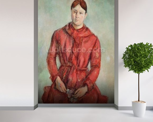 Portrait of Madame Cezanne in a Red Dress, c.1890 (oil on canvas) mural wallpaper room setting