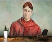 Portrait of Madame Cezanne in a Red Dress, c.1890 (oil on canvas) mural wallpaper kitchen preview