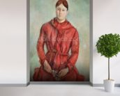 Portrait of Madame Cezanne in a Red Dress, c.1890 (oil on canvas) mural wallpaper in-room view