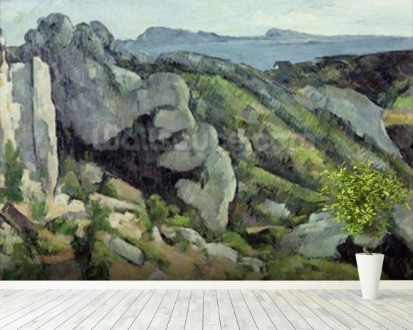 Rocks at LEstaque, 1879-82 (oil on canvas) wallpaper mural room setting