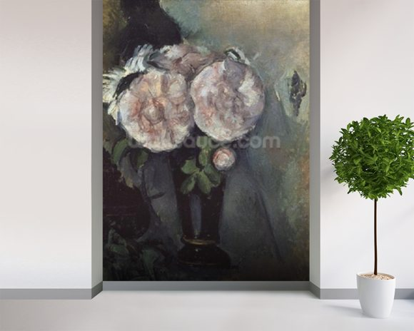 Cezanne Paul Flowers In A Blue Vase Wall Mural Wallsauce