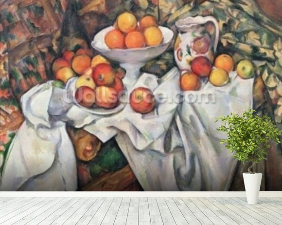 Apples and Oranges, 1895-1900 (oil on canvas) wall mural room setting