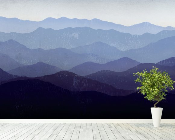 Purple Mountains wall mural room setting