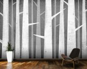 Birch Winter Woods mural wallpaper kitchen preview
