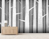 Birch Winter Woods mural wallpaper living room preview